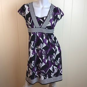 Loft Purple/Black A Line Career Dress